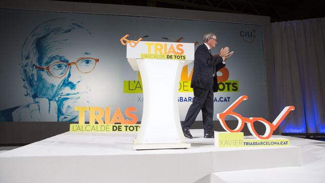 L'alcalde Xavier Trias presentant la seva campanya electoral per a l'Ajuntament de Barcelona