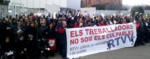 Protestes dels treballadors de Canal 9 quan van començar els ERO's el 2013.