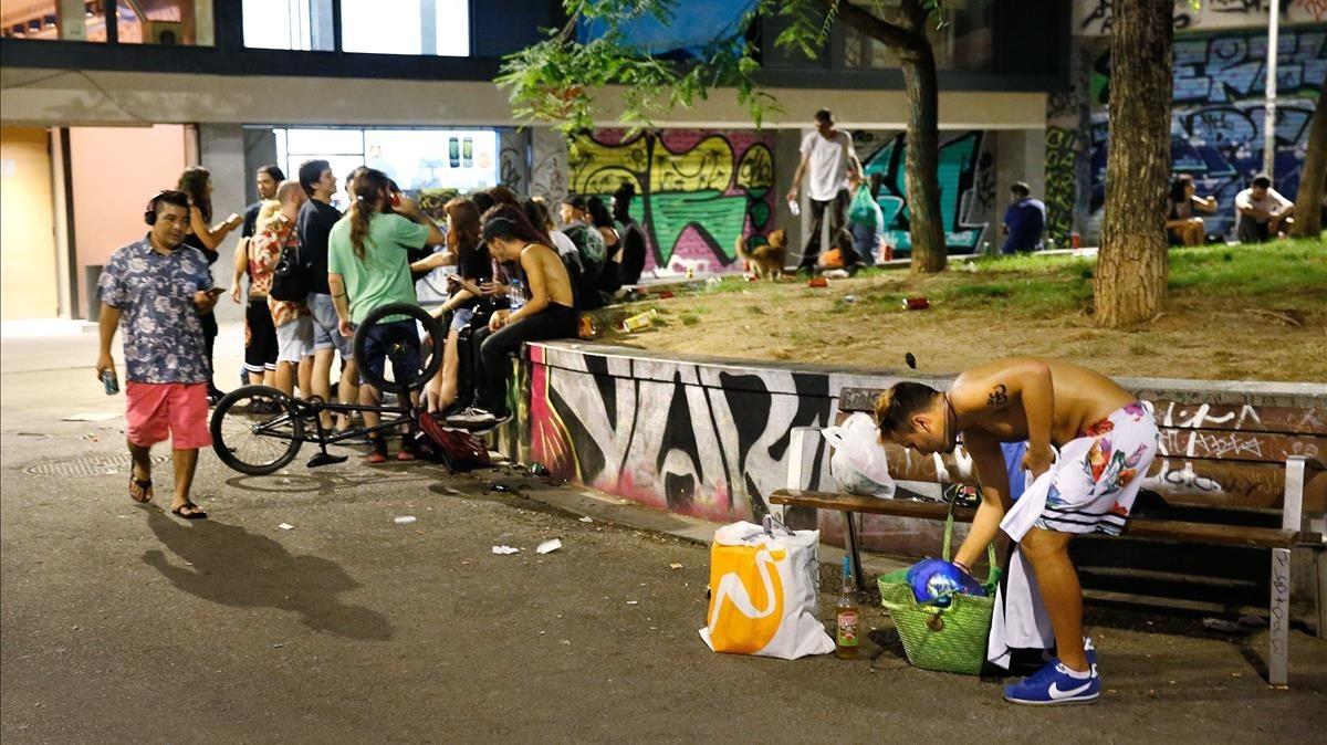 degradació de Barcelona, plaça Castella, Barcelona,